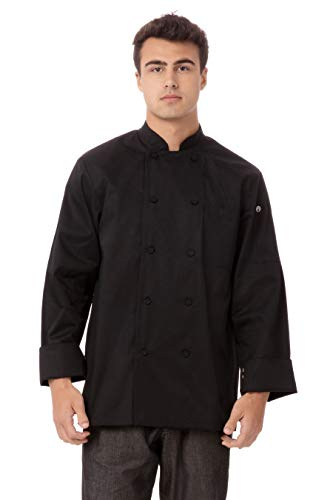 Chef Works Men's Calgary Cool Vent Chef Coat, Black, Large