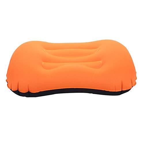 Bolange Almohada inflable ligera de viaje cómoda portátil compacta para camping, mochilero, senderismo, coche, playa, oficina, naranja