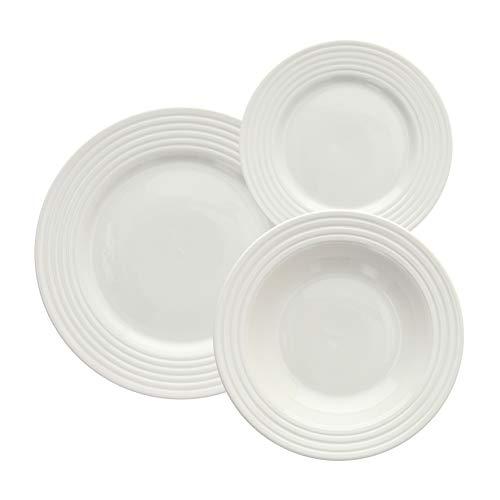 Tognana Vajilla de 18 piezas Rings, porcelana, blanco
