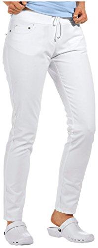 clinicfashion 10613024 Slim Stretch Jeans Hose Damen weiß, elastisches Rippstrickbündchen mit Kordeltunnelzug, Normallänge, Baumwolle, Größe 34