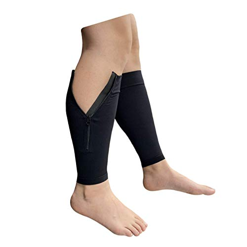 Presadee NEW BIG TALL Calf Sleeve With Zipper 20-30 mmHg Compression Extra Wide Shin Energize Leg Swelling Circulation (Black, 5XL)