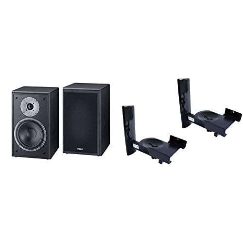 Magnat Monitor Supreme 202, Schwarz & B-Tech - BT77 - Ultragrip ProTM Wandhalterung für Lautsprecher bis 25kg (55lbs), neig- und schwenkbar, schwarz (Paar)