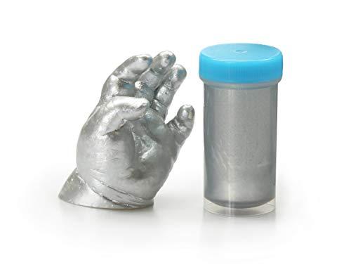 Lucky Hands 3D-Abformset ohne Zubehör | Handabdruck, Gipsabdruck (mit Acryllack Silber)