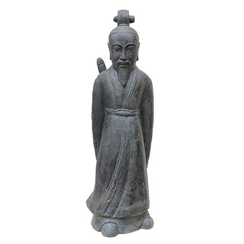 STONE art & more Samurai japonés de 120 cm de altura, piedra fundida, color negro envejecido