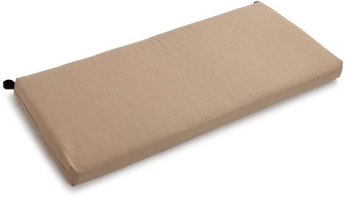 Blazing Needles Outdoor Spun Poly 19-Inch by 42-Inch by 3-1/2-Inch Bench Cushion, Sandstone