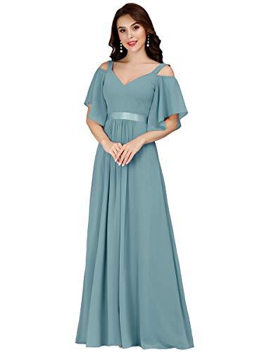 Ever-Pretty Vestito da Damigella Donna Linea ad A Chiffon Maniche Corte Scollo a V Lungo Blu Polveroso 52
