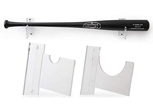 Baseball Bat Wall Mount for Horizontal Display - Sturdy Acrylic Bat Holder - Fits Any Baseball or Softball Bat (Hardware Included) Easy to Install