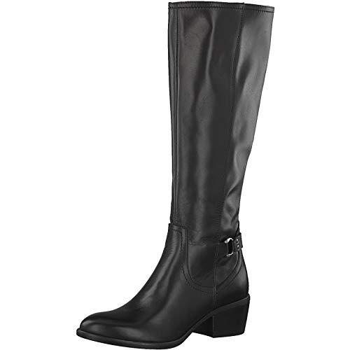 Tamaris Damen Stiefel 25728-33, lederstiefel langschaftstiefel reißverschluss Damen Frauen weibliche Ladies feminin elegant,Black,39 EU / 5.5 UK