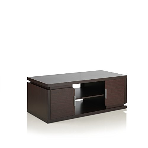 Furniture of America Thara Modern 2 Door Cabinets Coffee Table with 2 Open Shelves, 47