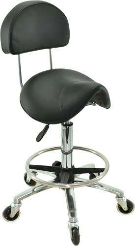 VAKON SALON - Sattelhocker mit Lehne und Fußring, höhenverstellbar von 55 - 75 cm, auf hochwertigen Rollen - Drehhocker, Rollhocker, Praxishocker, Bürohocker