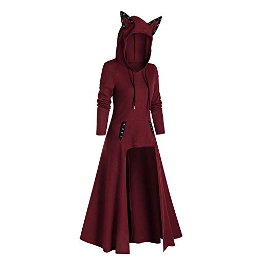 KEERADS - Vestido gtico maxi para Halloween, carnaval, informal, vestido de sudadera, estilo gtico, para Halloween, vintage, retro, renacimiento, Navidad, uniforme, fiesta, cosplay rojo XL