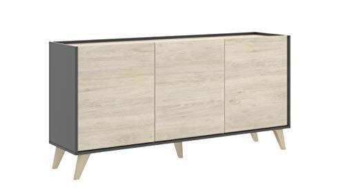 Mobelcenter - Mueble Aparador Moderno - Color Natural y Grafito - 3 Puertas - Medidas: Alto: 75 cm x Ancho: 155 cm x Fondo: 43 cm - (1056)