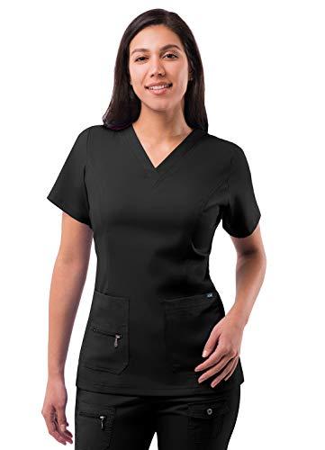 Adar Pro Scrubs for Women - Elevated V-Neck Scrub Top - P4212 - Black - XL