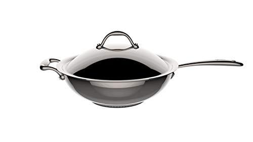 Lagostina ACCADEMIA LAGOFUSION 011116042030 - Padella wok 30 cm (5L) in acciaio inox con coperchio, adatta a tutti i tipi di fornelli compresi quelli a induzione, manico rivettato robusto Italia