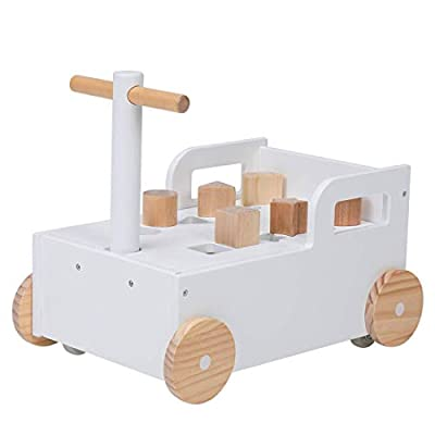 Crown Children 2-in-1 Baby Learning Walker Wooden Strollers with Blocks - Toddler Baby Push Walker Toys with Wheels for Girls Boys 1-3 Years Old, Wagon Toy walkers Sturdy Construction (Building Block)
