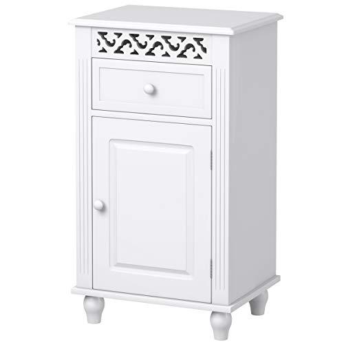 COSTWAY Badschrank weiß, Lagerschrank mit verstellbarem Einlegeboden, Nachtkommode mit Stauraum, Schubladenkommode freistehend, ideal für Wohnzimmer, Schlafzimmer, Badezimmer oder Büro