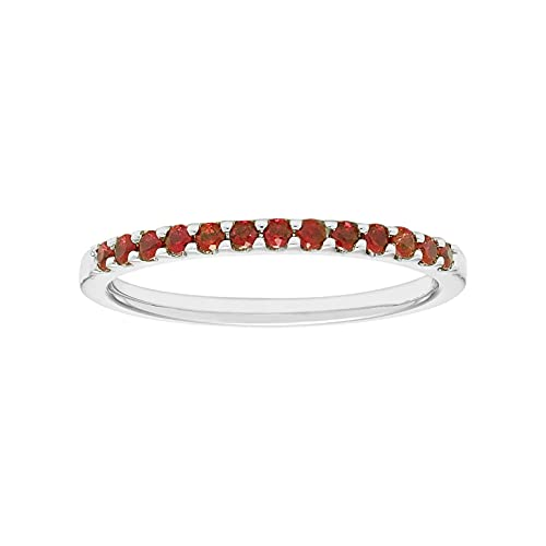 14K White Gold 1/4 Cttw Genuine Ruby Stackable 2MM Wedding Anniversary Band...
