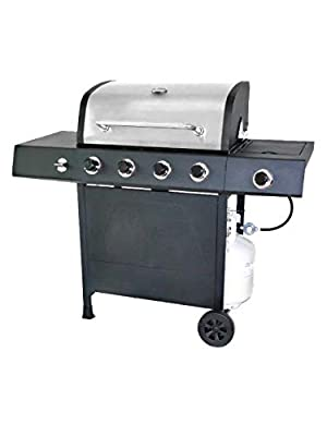 RevoAce 4-Burner LP Gas Grill with Side Burner, Stainless Steel