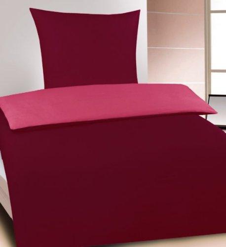 Unbekannt Wende Bettwäsche 135x200 +80x80cm, uni einfarbig, Microfaser, Reissverschluss (bordeaux-pink)