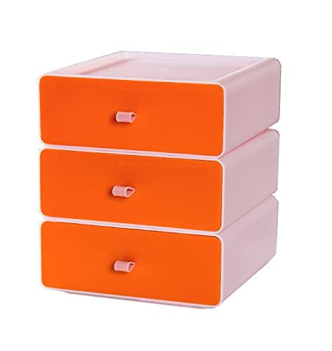 YTEU Caja de Almacenamiento de Escritorio cajón de Almacenamiento apilable Caja de Organizador Verde y Blanco pequeña Caja de diseño 20cm * 21cm * 7,5cm * 3 White+Orange