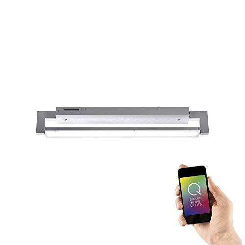 Paul Neuhaus, Q-Matteo, LED Deckenleuchte, Alexa-fähig, Smart Home, Wandleuchte, dimmbar mit Fernbedienung, Farbtemperatur einstellbar, warmweiss - kaltweiss, Aluminium