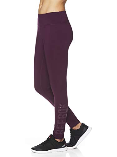 Reebok Women's Fleece Lined Leggings - Cold Weather Workout Running & Gym Athletic Tights Full Length Performance Compression Pants - Potent Purple Pop Nouveau, X-Small