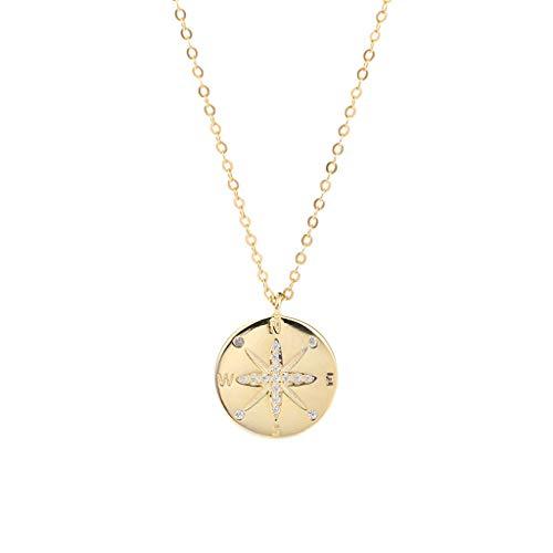 GLY S925 Plata esterlina brújula Collar Colgante joyería Carta Collar Mujer y niña