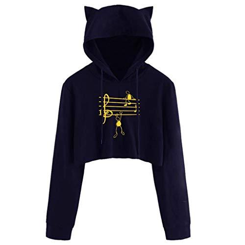 Sudadera con capucha para mujer y adolescente con orejas de gato, con estampado gráfico de notas musicales, cordón de manga larga