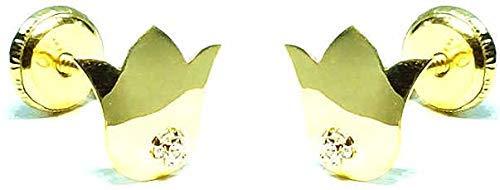 Pendientes oro 18k, niña/mujer flor de lis/tulipán pulida alto brillo y circón engastada de calidad. Medida de la joya 8 x 12 mm. Con cierre de máxima seguridad a rosca.