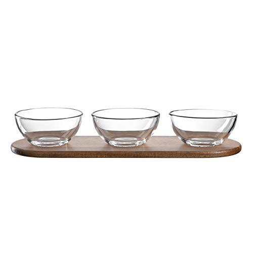 LEONARDO HOME Cucina Dipschälchen-Set, Snack-Schalen inkl. Servier-Platte aus Akazienholz, 4 teilig, 57 x 338 x 116 mm (HxBxT), 018518