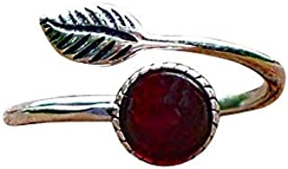 Recycled Vintage Red 1940's Beer Bottle Sterling Silver Leaf Botanical Collection Ring
