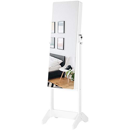 Homfa Schmuckschrank Standspiegel mit Kippsicherung Schmuckregal weiß Holz 43,3x40x147cm