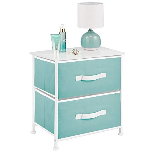 mDesign End Table/Night Stand Storage Tower - Sturdy Steel Frame, Wood Top, Easy Pull Fabric Bins - Organizer Unit for Bedroom, Hallway, Entryway, Closets - 2 Drawers - Turquoise/White