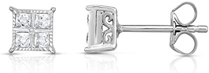 NATALIA DRAKE 1/4 Cttw Princess Cut Diamond Stud Earrings for Women in Rhodium Plated Sterling Silver (Color I-J /...