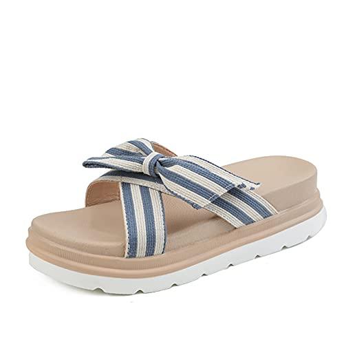 Sandalias de tacón medio con hebilla de tobillo ajustable para mujer, Zapatillas azules, 38.5 EU