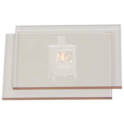 Cristal a medida, resistente a alta temperatura, calor, fuego… para hornos, estufas, chimeneas… 4mm de grosor (27 x 36 cm)