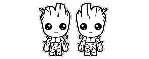 2 Aufkleber Baby Groot Comic Aufkleber Sticker 2x Höhe 13cm / Plus Schlüsselringanhänger aus Kokosnuss-Schale / Auto Motorrad Laptop Notebook Koffer Skateboard Snowboard Tuning Racing Motorsport