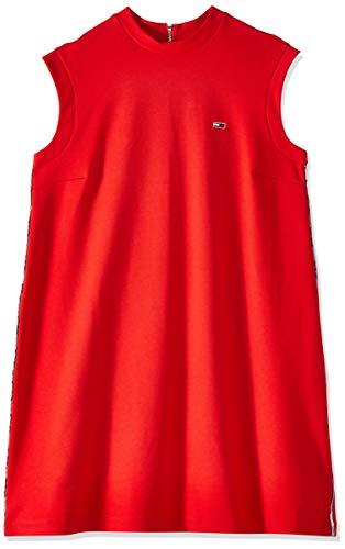 Tommy Jeans Damen TJW A-LINE Piping Dress Kleid, Rot (Flame Scarlet 667), Medium (Herstellergröße: M)