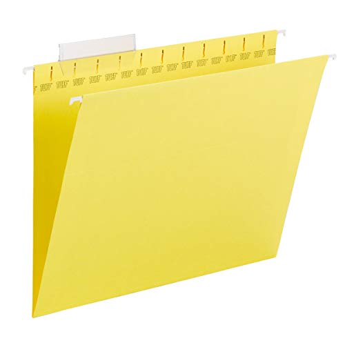 Smead TUFF Hanging File Folder with Easy Slide Tab, 1/3-Cut Sliding Tab, Letter Size, Yellow, 18 per Box (64044, Rod Color May Vary)
