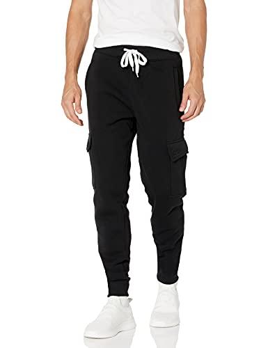 Southpole Men's Active Basic Jogger Fleece Pants, Black (Cargo), XX-Large