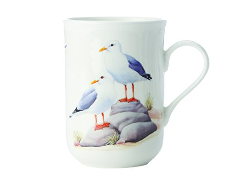 Maxwell & Williams Birds of The World Seemöwe, Geschenkbox, Porzellan, PBW1045 Becher, weiß, blau, 10.5 x 7.5 x 10.5 cm