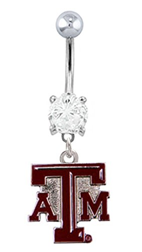 Texas A&M Aggies Logo dangle College football NCAA Belly button navel Ring piercing bar body jewelry 14g