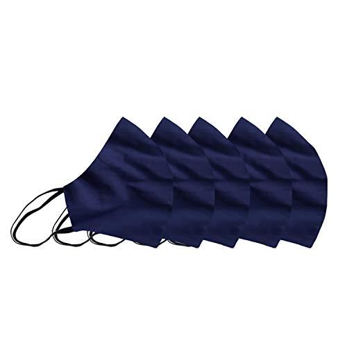 Premium Cotton Unisex Face Mask-Pack of 5,100% Cotton Blue Washable| Breathable| Reusable| Medium Size Face Mask