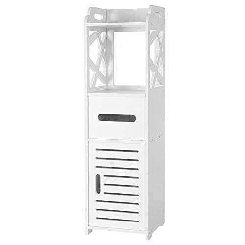 Ghvi Estantería de almacenamiento estrecho para baño, estante alto y estrecho, estante de almacenamiento para inodoro de baño, estante de pie, organizador de artículos de baño, para pañuelos de PVC