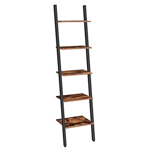 HOOBRO Leiterregal mit 5 Ebenen, Bücherregal, schmal Standregal im Industriestil, stabiles Ablageregal mit Metallrahmen, leicht zu montieren, für Büro, Küche, Wohnzimmer, Vintage EBF71CJ01