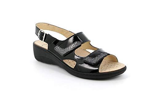 Grunland SE0415-68 Sandalo Donna A 2 Strappi con Cinturino A Fibbia alla Caviglia (Nero, Numeric_40)