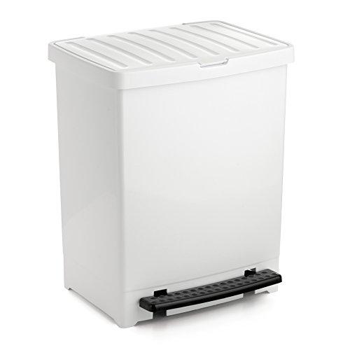 Tatay Cubo de Pedal, 25L de Capacidad, Pedal Retráctil, Polipropileno, Libre de BPA, Bolsa Basura 30L. Color Blanco . Medidas 33.5 x 31 x 42cm