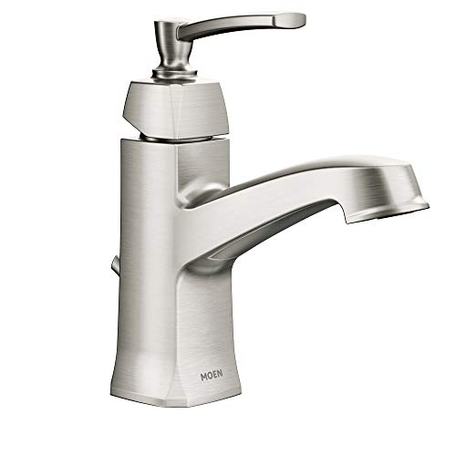 Moen WS84923SRN Conway One-Handle Single Hole or Centerset Bathroom Faucet with Drain Assembly, Spot Resist Brushed Nickel