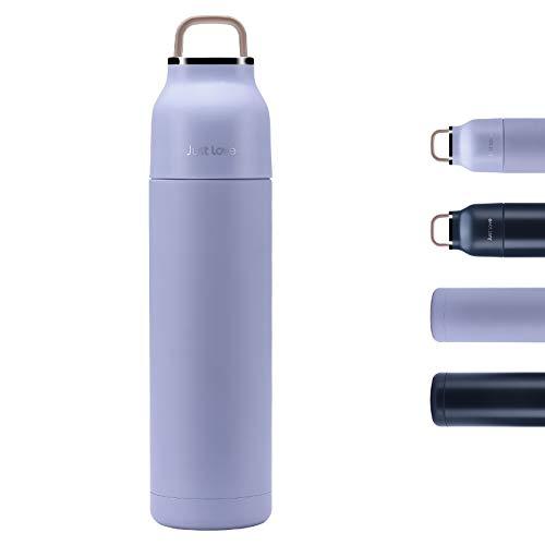 Deprik Isolierflasche Edelstahl - Thermoflasche 500 ml, 100% Dicht Auslaufsicher, Doppelwandig Vakuum Isoliert 12 Std. Heiß Trinkflasche mit Drehverschluss (BPA-frei, Grau)