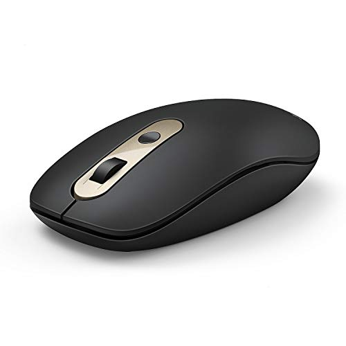USB C Wireless Mouse, Jelly Comb 2.4G Wireless Mouse Type C Computer Mice with Nano USB and Type C Receiver Compatible with Notebook, Computer, Laptop, MacBook and All Type C Device-Black and Gold